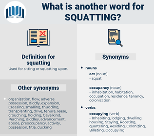 squatting, synonym squatting, another word for squatting, words like squatting, thesaurus squatting