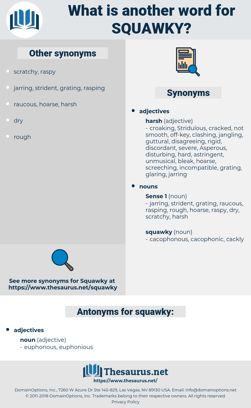 squawky, synonym squawky, another word for squawky, words like squawky, thesaurus squawky
