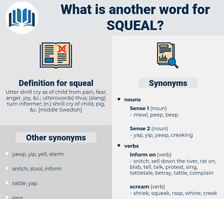 squeal, synonym squeal, another word for squeal, words like squeal, thesaurus squeal
