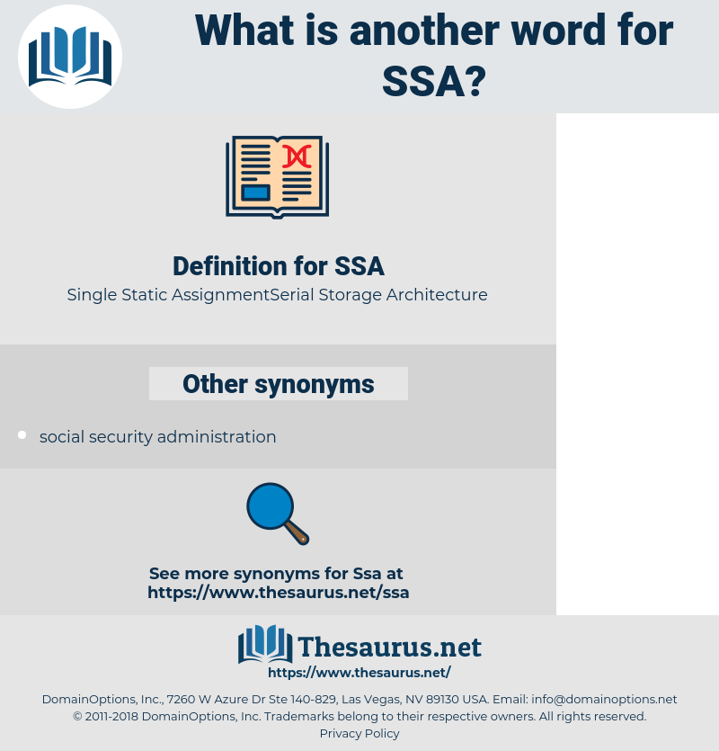 SSA, synonym SSA, another word for SSA, words like SSA, thesaurus SSA