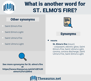 St. Elmo's Fire, synonym St. Elmo's Fire, another word for St. Elmo's Fire, words like St. Elmo's Fire, thesaurus St. Elmo's Fire