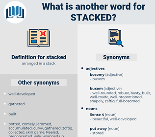 stacked, synonym stacked, another word for stacked, words like stacked, thesaurus stacked