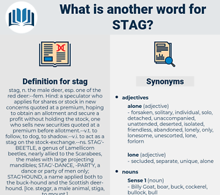 stag, synonym stag, another word for stag, words like stag, thesaurus stag