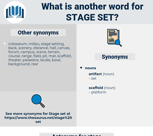 stage set, synonym stage set, another word for stage set, words like stage set, thesaurus stage set