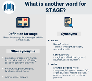 stage, synonym stage, another word for stage, words like stage, thesaurus stage