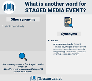 staged media event, synonym staged media event, another word for staged media event, words like staged media event, thesaurus staged media event