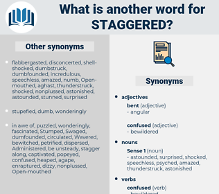 Staggered, synonym Staggered, another word for Staggered, words like Staggered, thesaurus Staggered