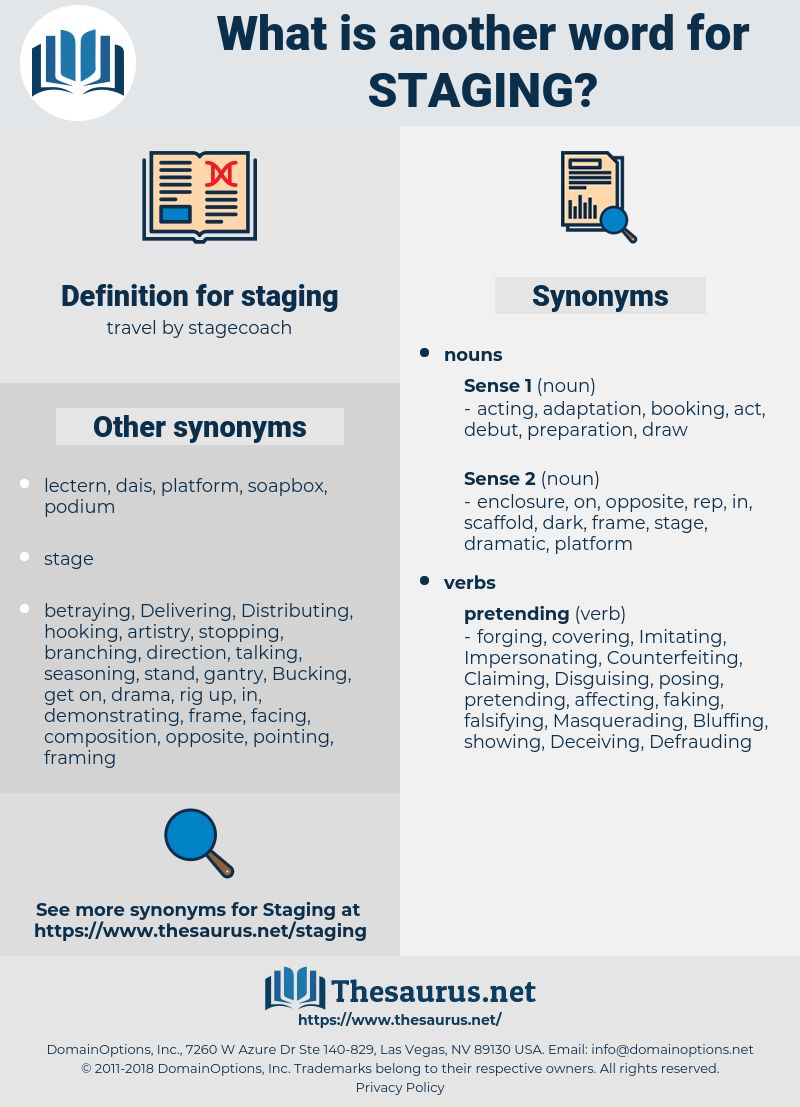 staging, synonym staging, another word for staging, words like staging, thesaurus staging