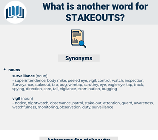 stakeouts, synonym stakeouts, another word for stakeouts, words like stakeouts, thesaurus stakeouts