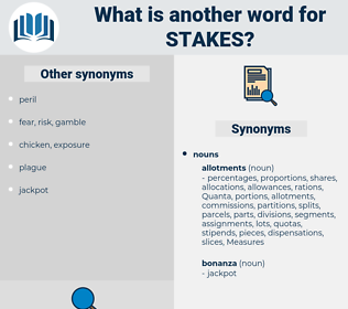 stakes, synonym stakes, another word for stakes, words like stakes, thesaurus stakes