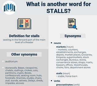 stalls, synonym stalls, another word for stalls, words like stalls, thesaurus stalls