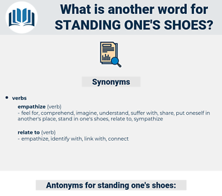 standing one's shoes, synonym standing one's shoes, another word for standing one's shoes, words like standing one's shoes, thesaurus standing one's shoes
