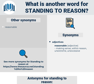 standing to reason, synonym standing to reason, another word for standing to reason, words like standing to reason, thesaurus standing to reason