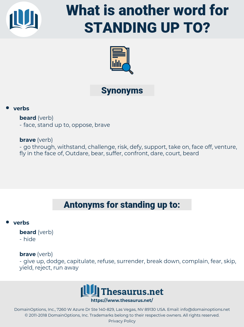 standing up to, synonym standing up to, another word for standing up to, words like standing up to, thesaurus standing up to