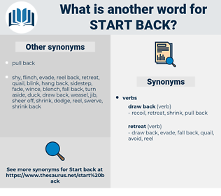 start back, synonym start back, another word for start back, words like start back, thesaurus start back