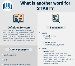 start, synonym start, another word for start, words like start, thesaurus start
