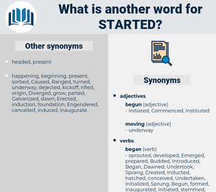 started, synonym started, another word for started, words like started, thesaurus started
