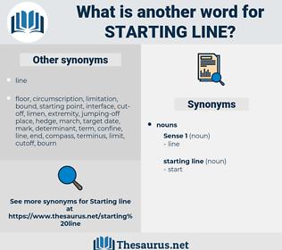 starting line, synonym starting line, another word for starting line, words like starting line, thesaurus starting line
