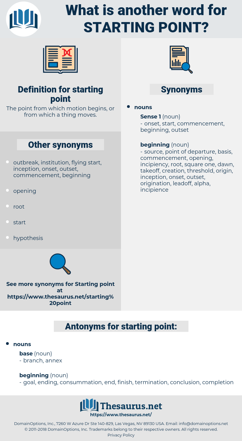 starting point, synonym starting point, another word for starting point, words like starting point, thesaurus starting point
