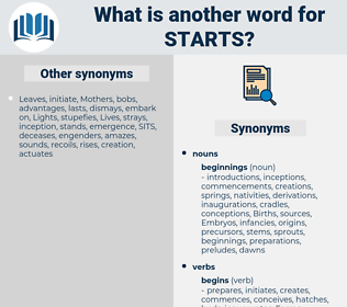 starts, synonym starts, another word for starts, words like starts, thesaurus starts