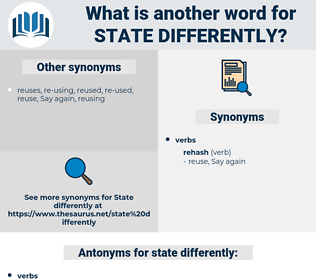 state differently, synonym state differently, another word for state differently, words like state differently, thesaurus state differently