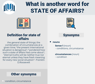 state of affairs, synonym state of affairs, another word for state of affairs, words like state of affairs, thesaurus state of affairs