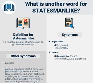 statesmanlike, synonym statesmanlike, another word for statesmanlike, words like statesmanlike, thesaurus statesmanlike