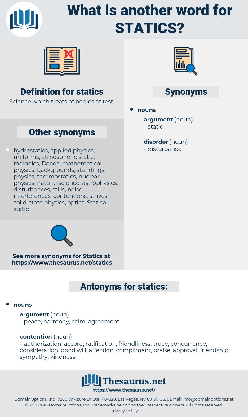 statics, synonym statics, another word for statics, words like statics, thesaurus statics