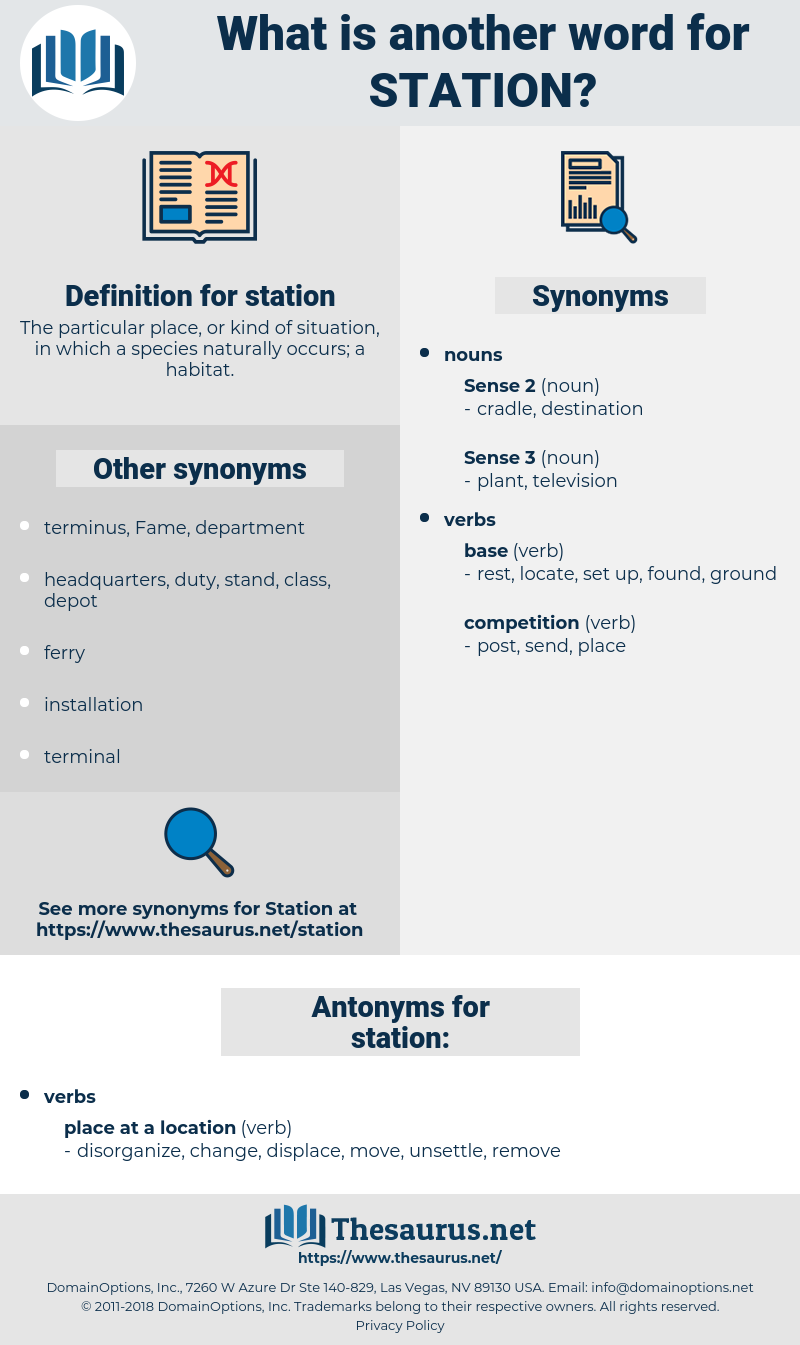 station, synonym station, another word for station, words like station, thesaurus station