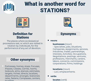 Stations, synonym Stations, another word for Stations, words like Stations, thesaurus Stations