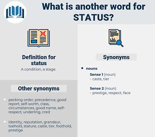 status, synonym status, another word for status, words like status, thesaurus status