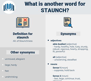 staunch, synonym staunch, another word for staunch, words like staunch, thesaurus staunch