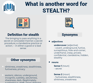 stealth, synonym stealth, another word for stealth, words like stealth, thesaurus stealth
