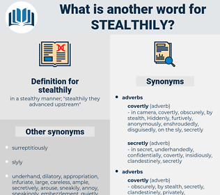 stealthily, synonym stealthily, another word for stealthily, words like stealthily, thesaurus stealthily