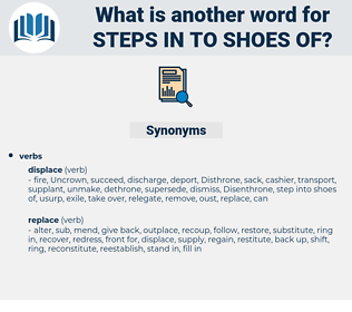 steps in to shoes of, synonym steps in to shoes of, another word for steps in to shoes of, words like steps in to shoes of, thesaurus steps in to shoes of