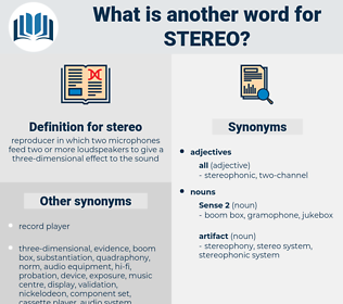 stereo, synonym stereo, another word for stereo, words like stereo, thesaurus stereo