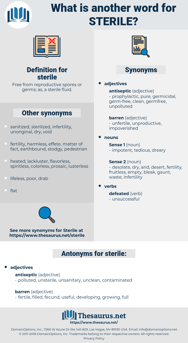 sterile, synonym sterile, another word for sterile, words like sterile, thesaurus sterile