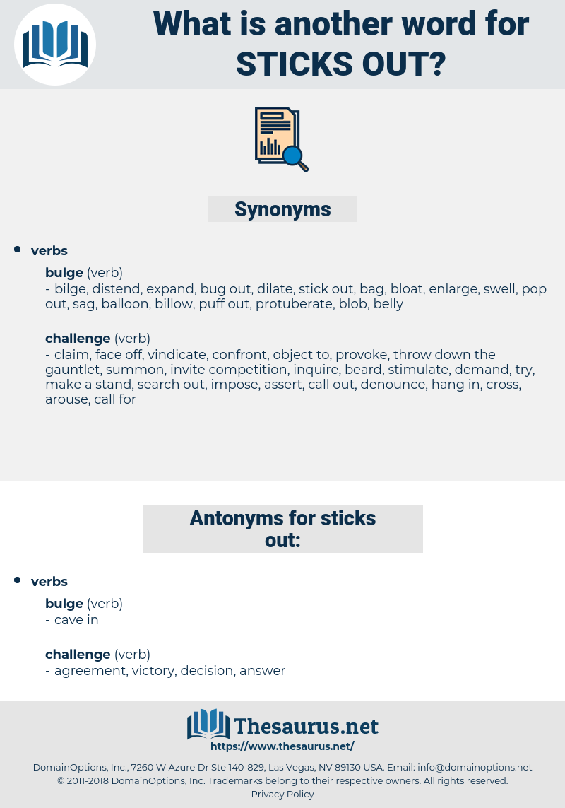 sticks out, synonym sticks out, another word for sticks out, words like sticks out, thesaurus sticks out