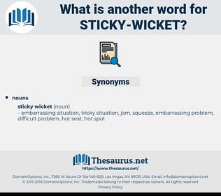 sticky wicket, synonym sticky wicket, another word for sticky wicket, words like sticky wicket, thesaurus sticky wicket