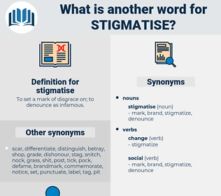 stigmatise, synonym stigmatise, another word for stigmatise, words like stigmatise, thesaurus stigmatise