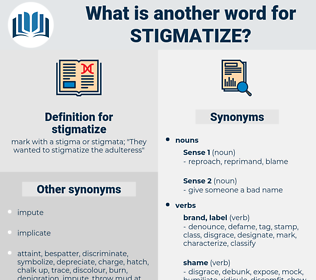 stigmatize, synonym stigmatize, another word for stigmatize, words like stigmatize, thesaurus stigmatize