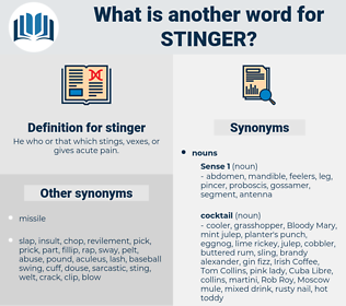 stinger, synonym stinger, another word for stinger, words like stinger, thesaurus stinger
