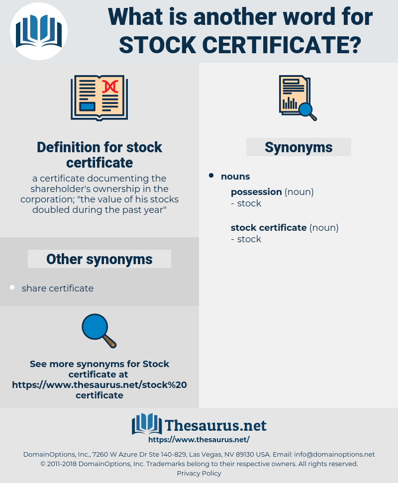 stock certificate, synonym stock certificate, another word for stock certificate, words like stock certificate, thesaurus stock certificate