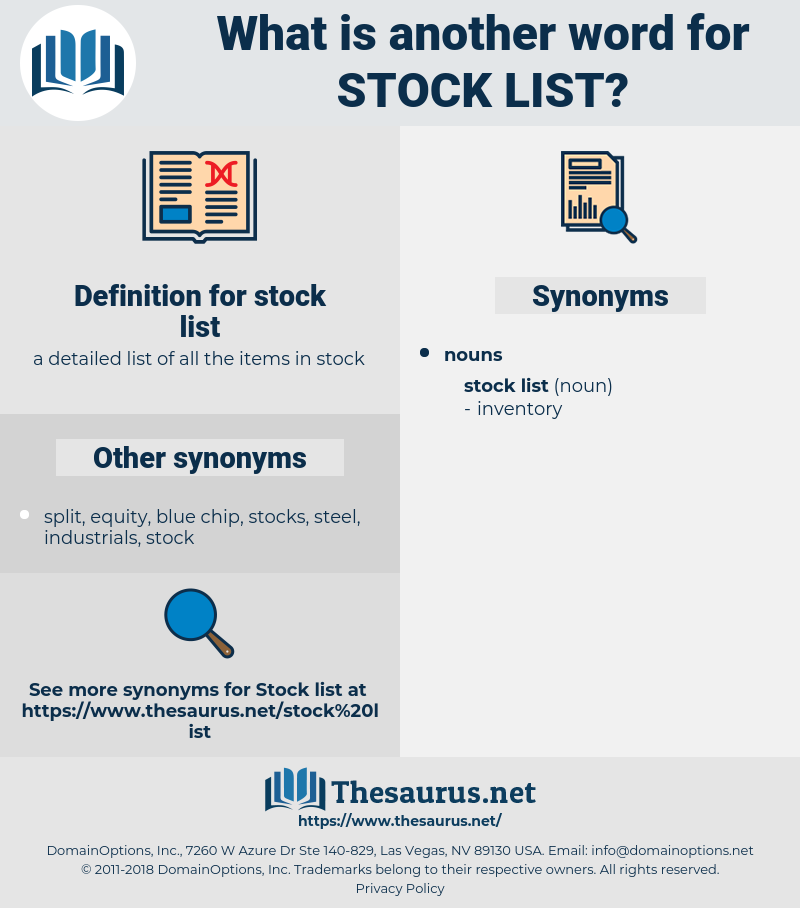 stock list, synonym stock list, another word for stock list, words like stock list, thesaurus stock list