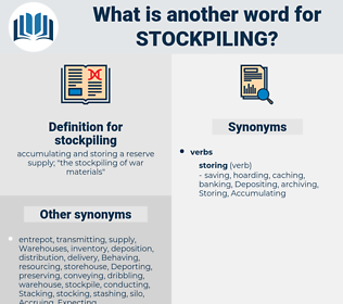 stockpiling, synonym stockpiling, another word for stockpiling, words like stockpiling, thesaurus stockpiling
