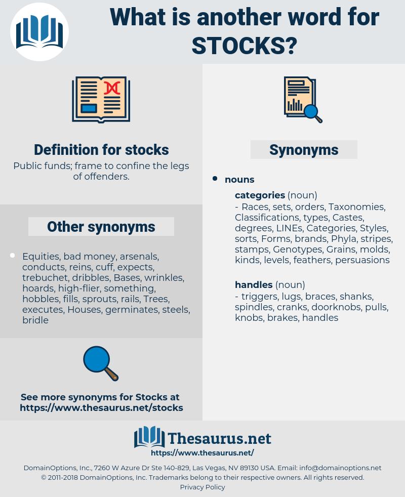 stocks, synonym stocks, another word for stocks, words like stocks, thesaurus stocks