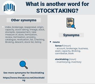 stocktaking, synonym stocktaking, another word for stocktaking, words like stocktaking, thesaurus stocktaking