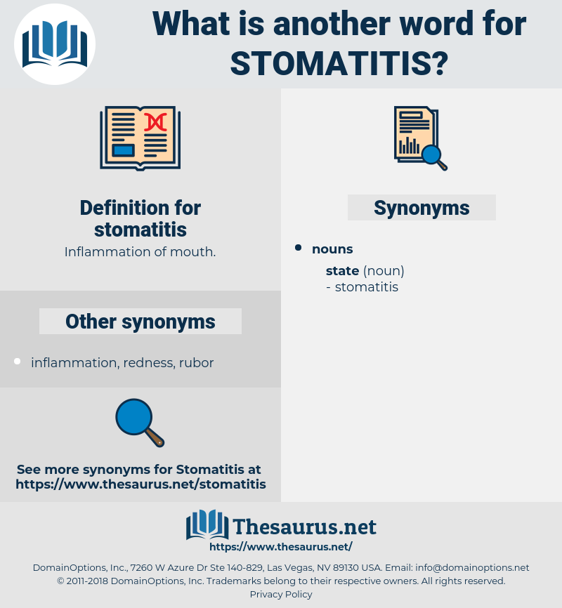 stomatitis, synonym stomatitis, another word for stomatitis, words like stomatitis, thesaurus stomatitis
