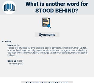 stood behind, synonym stood behind, another word for stood behind, words like stood behind, thesaurus stood behind
