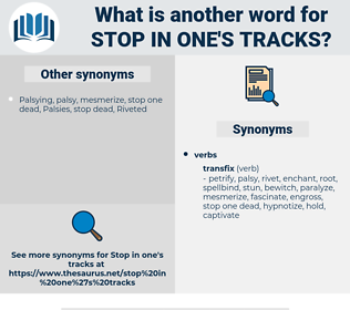 stop in one's tracks, synonym stop in one's tracks, another word for stop in one's tracks, words like stop in one's tracks, thesaurus stop in one's tracks